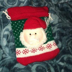 """Santa 🎅 knit pouch 6""""x5"""""""